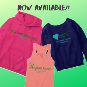"picture of three shirts: a hooded sweatshirt in pink with ""I nap with strangers"" in green, a Navy blue sweatshirt with ""I love Naps"" in green, and a coral tank top with ""naptime awaits"" in green"
